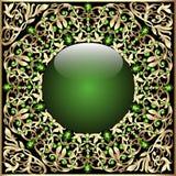 Marco del fondo con los ornamentos y el oro de la bola de cristal Foto de archivo