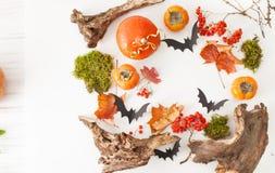 Marco del fondo para los regalos de Halloween del otoño y de palos Imagen de archivo libre de regalías