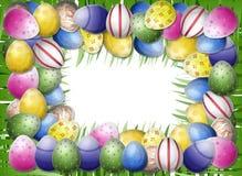 Marco del huevo y de la hierba Fotografía de archivo