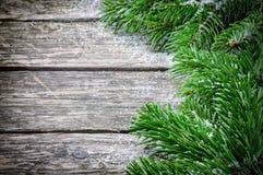 Marco del invierno con las ramas de árbol de abeto de la Navidad fotos de archivo