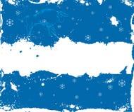 Marco del invierno de Grunge con los copos de nieve y el buey chino Fotografía de archivo
