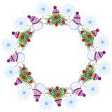 Marco del invierno Los árboles de navidad, los muñecos de nieve y los snowlakes adornados arreglaron en una forma del anillo Dise Imagen de archivo