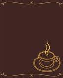 Marco del menú a la taza de marrón oscuro del café Imagen de archivo libre de regalías