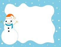 Marco del muñeco de nieve de la frontera de la Navidad Foto de archivo