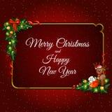 Marco del oro adornado con los elementos de la Navidad Imagen de archivo libre de regalías