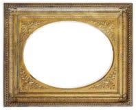 Marco del oro aislado en blanco Imágenes de archivo libres de regalías