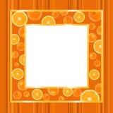 Marco del oro con las naranjas Fotografía de archivo