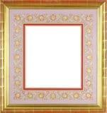 marco del oro con passe-partout decorativo floral Fotografía de archivo