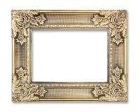 Marco del oro con un modelo decorativo en el fondo blanco imagen de archivo libre de regalías
