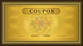 Marco del oro de la cupón Fotos de archivo libres de regalías
