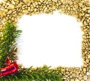 Marco del oro de la Navidad Fotografía de archivo libre de regalías