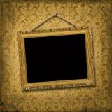Marco del oro del cuadro con el modelo del victorian Fotografía de archivo