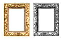 Marco del oro del vintage y de la rosa del gris aislado en el fondo blanco Fotografía de archivo