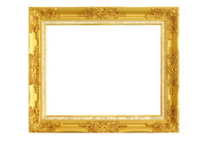 Marco del oro en el fondo blanco Imágenes de archivo libres de regalías