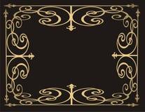 Marco del oro en fondo negro Fotos de archivo libres de regalías