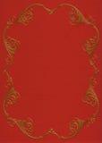 Marco del oro en la invitación del fieltro del rojo Imagen de archivo libre de regalías