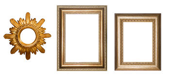 Marco del oro para las imágenes collage Marco de la vendimia Imagenes de archivo
