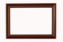Marco del oro y de madera en el fondo blanco Imágenes de archivo libres de regalías