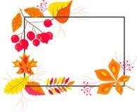 MARCO del OTOÑO con las hojas de otoño que caen rojas, anaranjadas, verdes y amarillas Ilustración del Vector