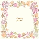 Marco del otoño hecho de hojas Imagen de archivo libre de regalías