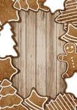 Marco del pan de jengibre de la Navidad Imagen de archivo