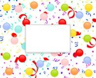 Marco del partido con los globos y el confeti Imagen de archivo