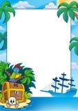 Marco del pirata con la isla del tesoro Imagen de archivo libre de regalías