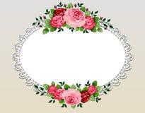 Marco del ramo de las rosas de la vendimia stock de ilustración