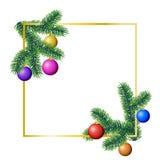 Marco del rectángulo del invierno del vector con las ramas de árbol conífero adornadas con los ornamentos coloridos de la Navidad libre illustration