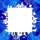 Marco del ` s de la Navidad y del Año Nuevo y tarjeta de felicitaciones con el silhouett ilustración del vector