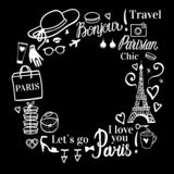 Marco del vector con el espacio para el texto Compras de la moda de París cerca de la torre Eiffel libre illustration