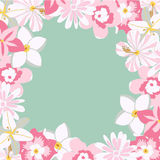 Marco del vector con las flores rosadas tropicales Fotografía de archivo