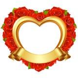 Marco del vector en la forma del corazón con las rosas rojas