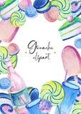 Marco del verano del aguazo con rosa y caramelo azul, piruletas espirales verdes claras, soda rosada y cubilete de cristal azul libre illustration