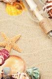 Marco del verano con las cáscaras coloridas del mar Imagen de archivo libre de regalías