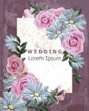 Marco del vintage con la margarita y el vector color de rosa de las flores Casarse la decoración floral delicada de la invitación stock de ilustración
