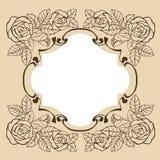 Marco del vintage con las rosas para la tarjeta de felicitación, invitación ilustración del vector
