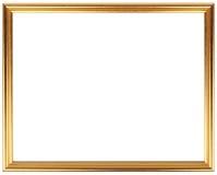 Marco del vintage del oro aislado en blanco Diseño simple del marco del oro Fotografía de archivo