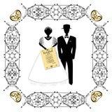 Marco del vintage del oro con símbolos hebreos Una boda judía, un hupa, una novia y novio con un ketubah en sus manos negro stock de ilustración