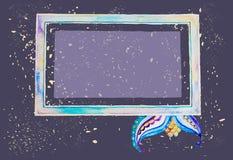 Marco del Watercolour en fondo del grunge Imágenes de archivo libres de regalías