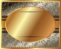 Marco delicado del oro con la placa oval ilustración del vector