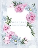 Marco delicado del vintage con vector color de rosa de las flores Casarse la decoración floral de la invitación Viejo efecto del  libre illustration