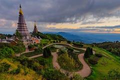 Marco despercebido em Chiangmai, pagode no parque nacional T de Inthanon Foto de Stock