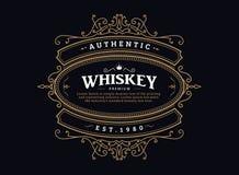 Marco dibujado mano de la antigüedad de la insignia del vintage de la etiqueta del whisky retro stock de ilustración