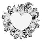 Marco dibujado mano del corazón del garabato de las flores Fondo de las letras del vintage Amor del día de tarjeta del día de San Imagen de archivo