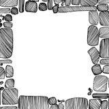 Marco dibujado mano del vector de piedras Imagen de archivo