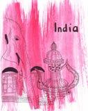 Marco do esboço da ilustração grande parte do elefante indiano Imagens de Stock