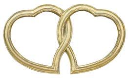 Marco dorado de la foto integrado con los diamantes artificiales en la forma de corazones Imagenes de archivo