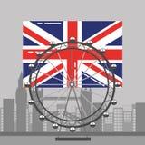 Marco e construções britânicos da recreação da roda de ferris da bandeira de Londres Imagens de Stock