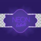 Marco eléctrico del vintage con las luces de neón brillantes Luz púrpura con resplandor transparente Ilustración del vector Imágenes de archivo libres de regalías